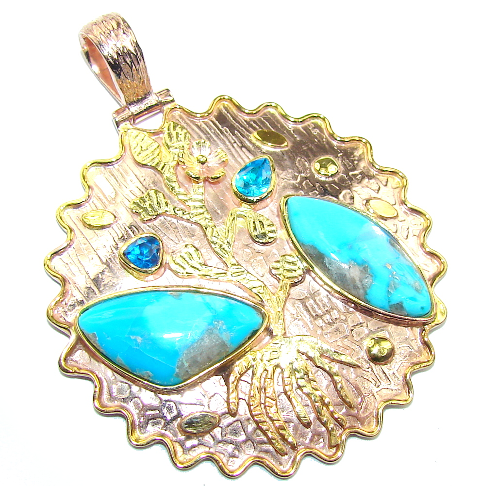Sleeping Beauty Blue Turquoise & London Blue Topaz, Two Tones Sterling Silver Pendant
