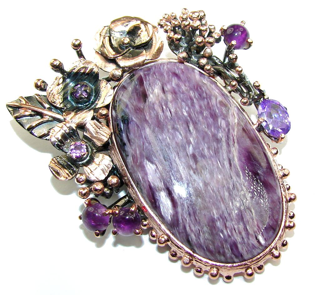 Purple Garden AAA Purple Siberian Charoite & Amethyst, Rose Gold Plated,..