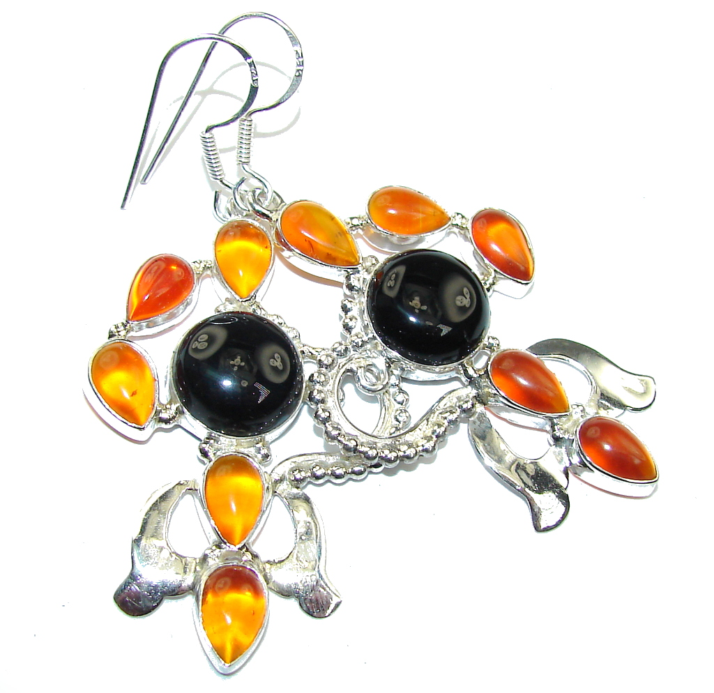 Big! Excellent Black Onyx & Orange Carnelian Sterling Silver earrings