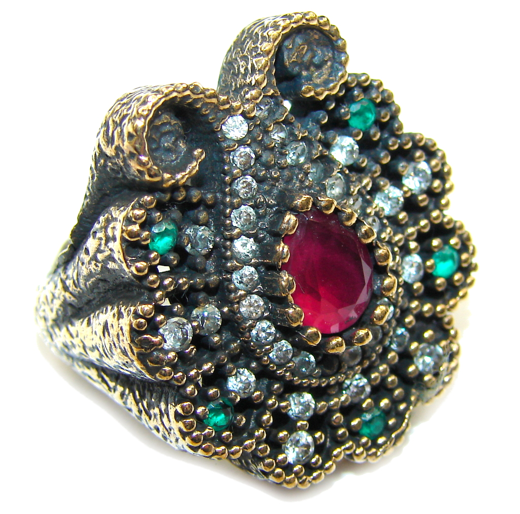 Victorian Style! Ruby & Emerald & White Topaz Sterling Silver Ring s. 6 1/4