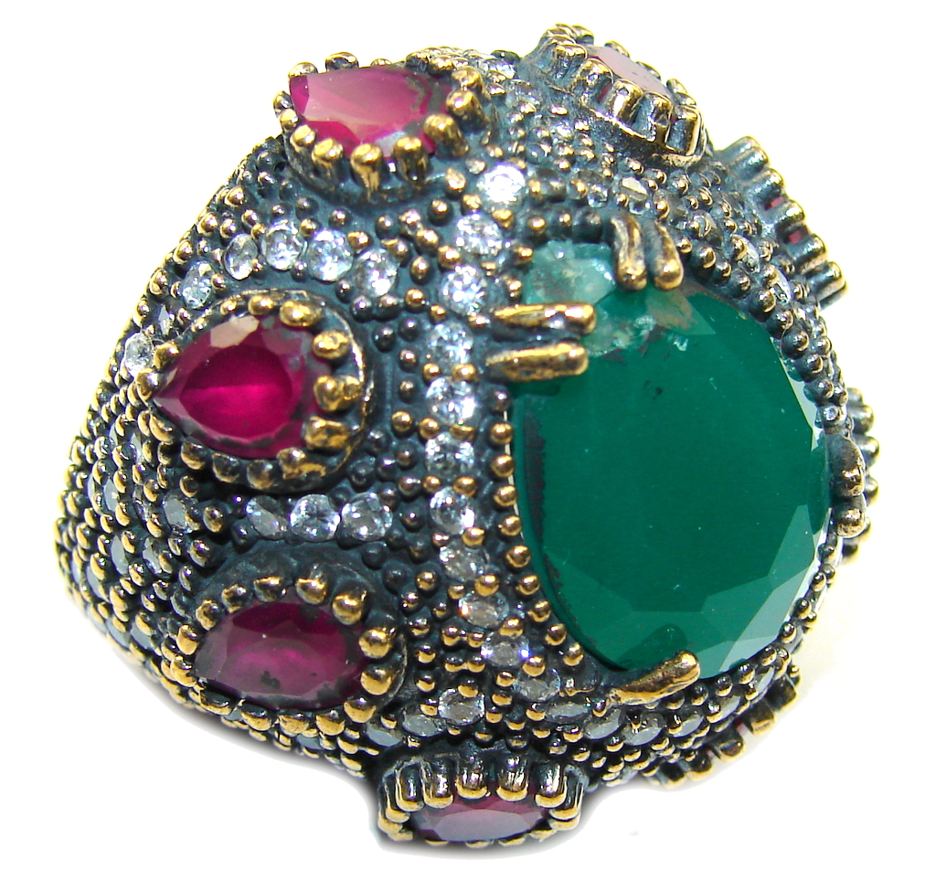 Big! Victorian Style! Ruby & Emerald & White Topaz Sterling Silver Ring s. 7 1/2