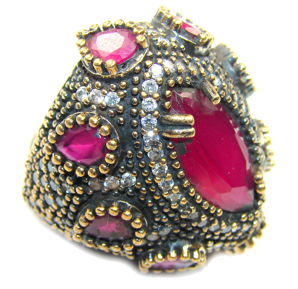 Large! Victorian Style! Ruby & White Topaz Sterling Silver Ring s. 7