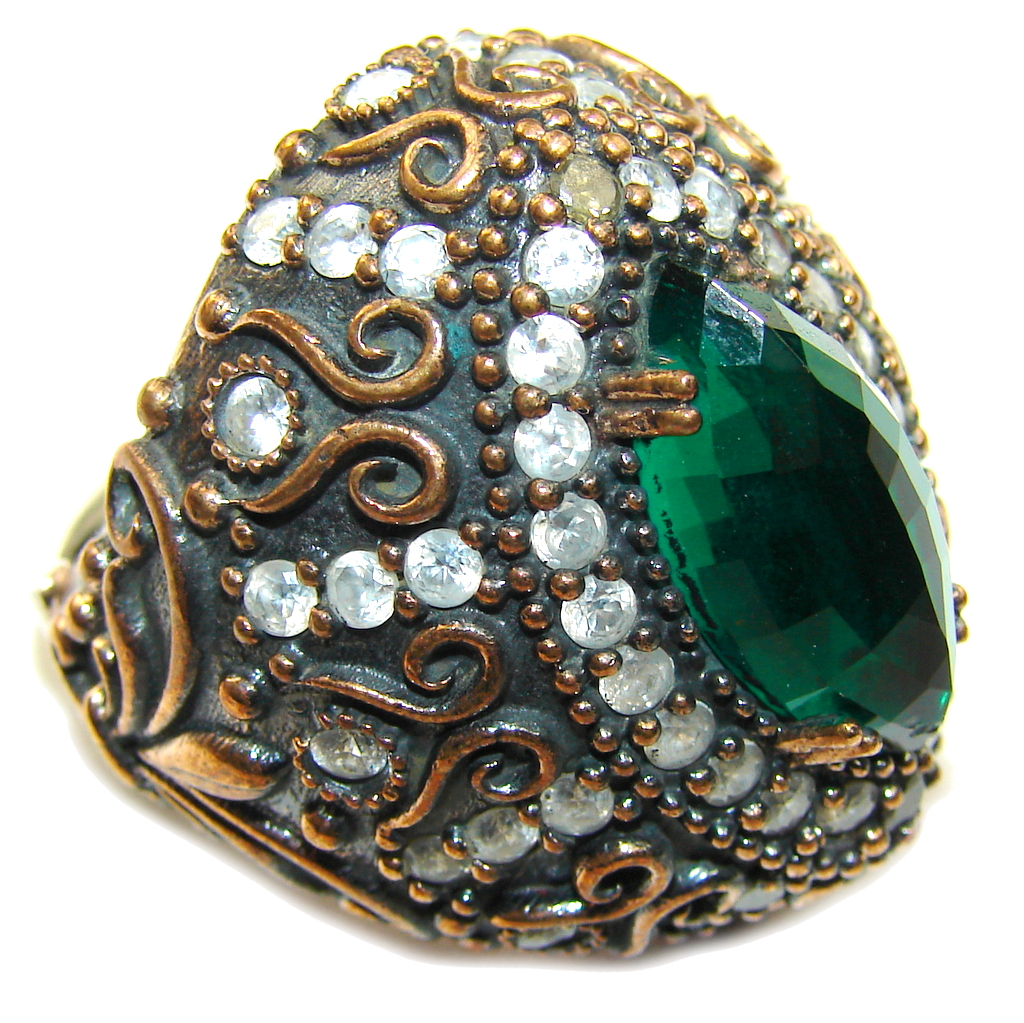 Large! Victorian Style! Emerald & White Topaz Sterling Silver Ring s. 10