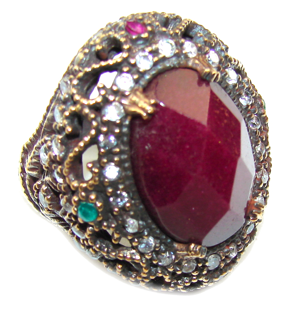 Big! Victorian Style! Red Ruby & Emerald & White Topaz Sterling Silver Ring s. 7 1/2