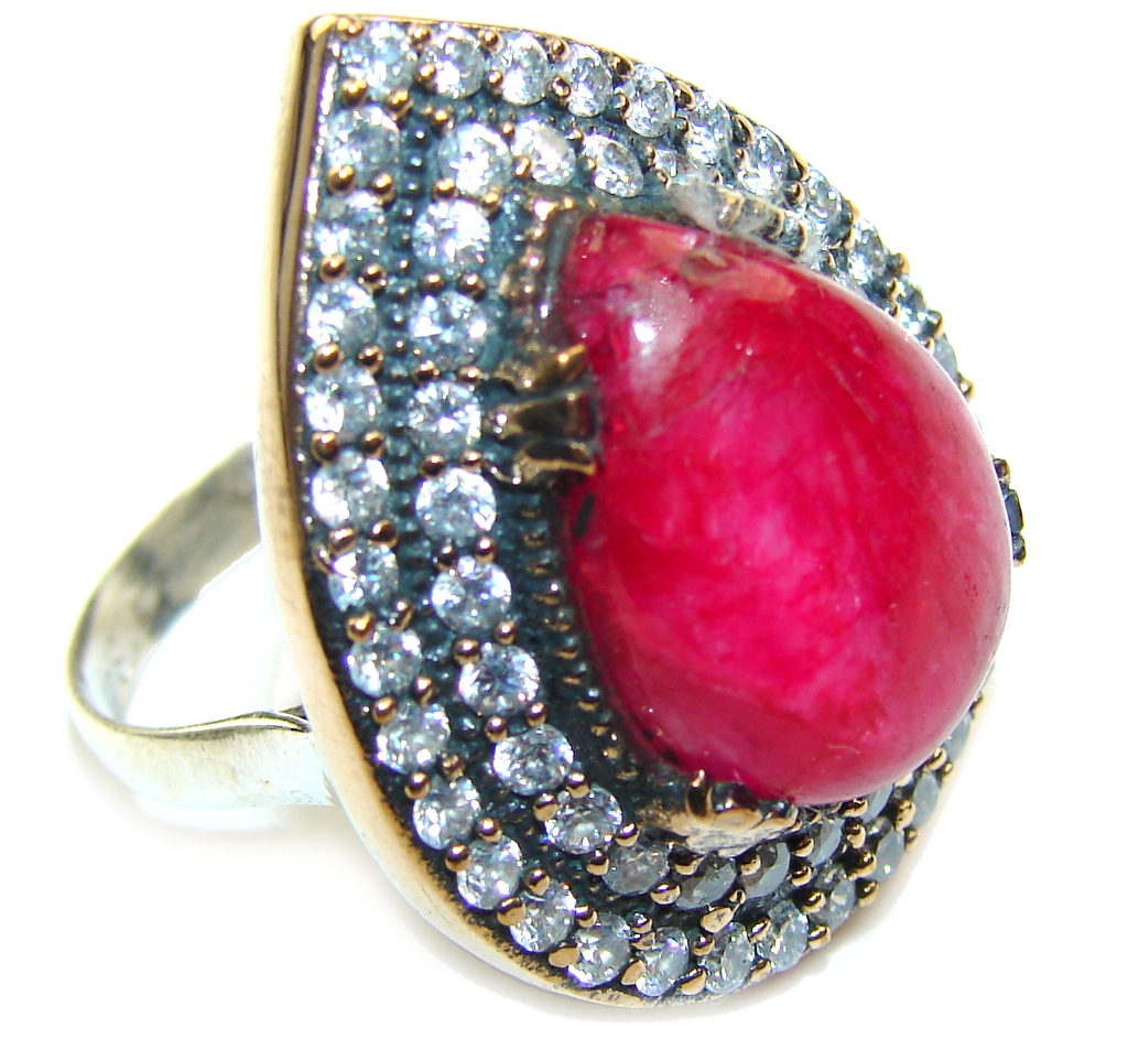 Victorian Style! Pink Ruby & White Topaz Sterling Silver Ring s. 9 1/2