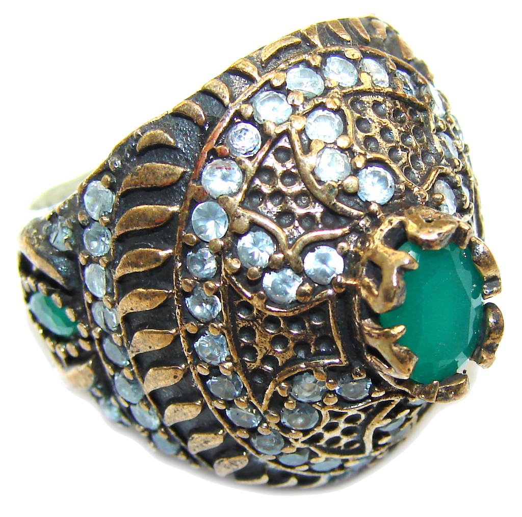 Victorian Style! Emerald & White Topaz Sterling Silver Ring s. 5 1/4