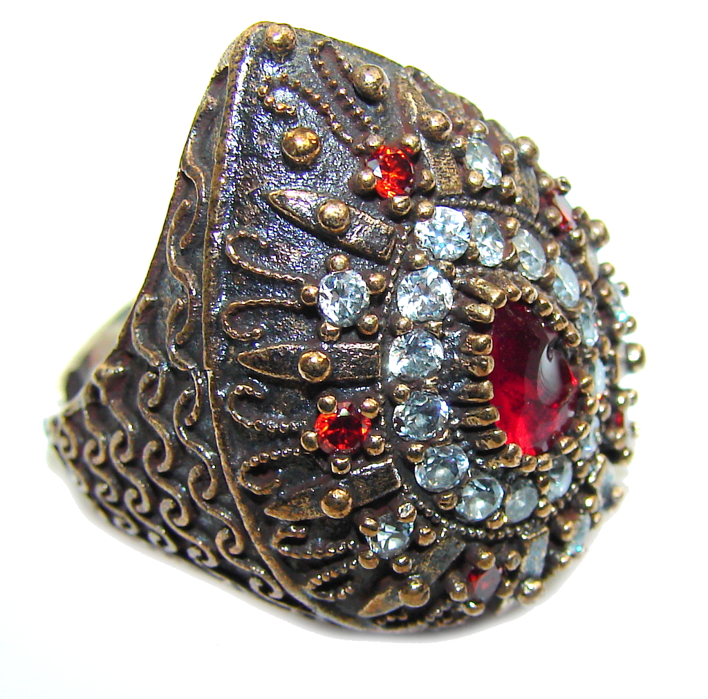 Victorian Style! Red Garnet & White Topaz Sterling Silver Ring s. 7 1/2