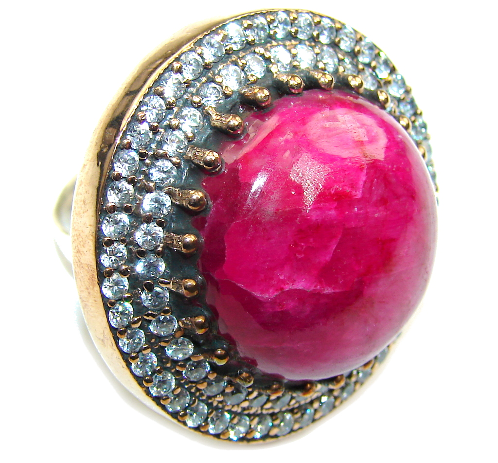 Huge! Victorian Style! Pink Ruby & White Topaz Sterling Silver Ring s. 9 1/4