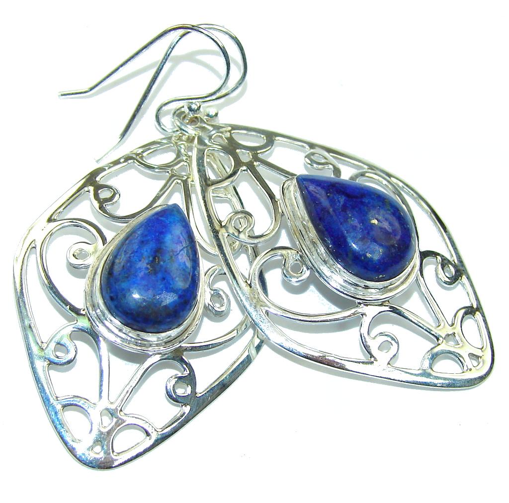 Big! Fantastic Blue Lapis Lazuli Sterling Silver earrings