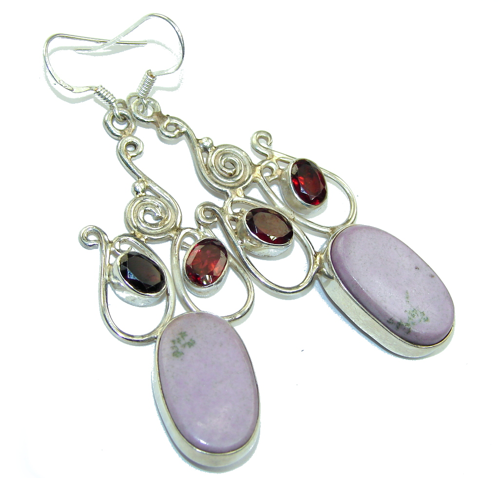Amazing! Purple Sugalite & Garnet Sterling Silver earrings