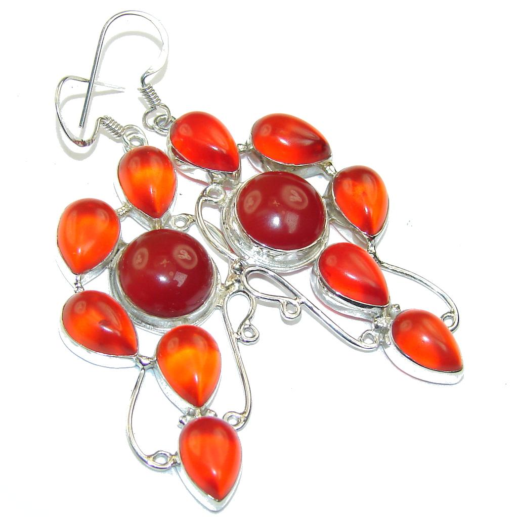 Beauty Orange Carnelian Sterling Silver earrings