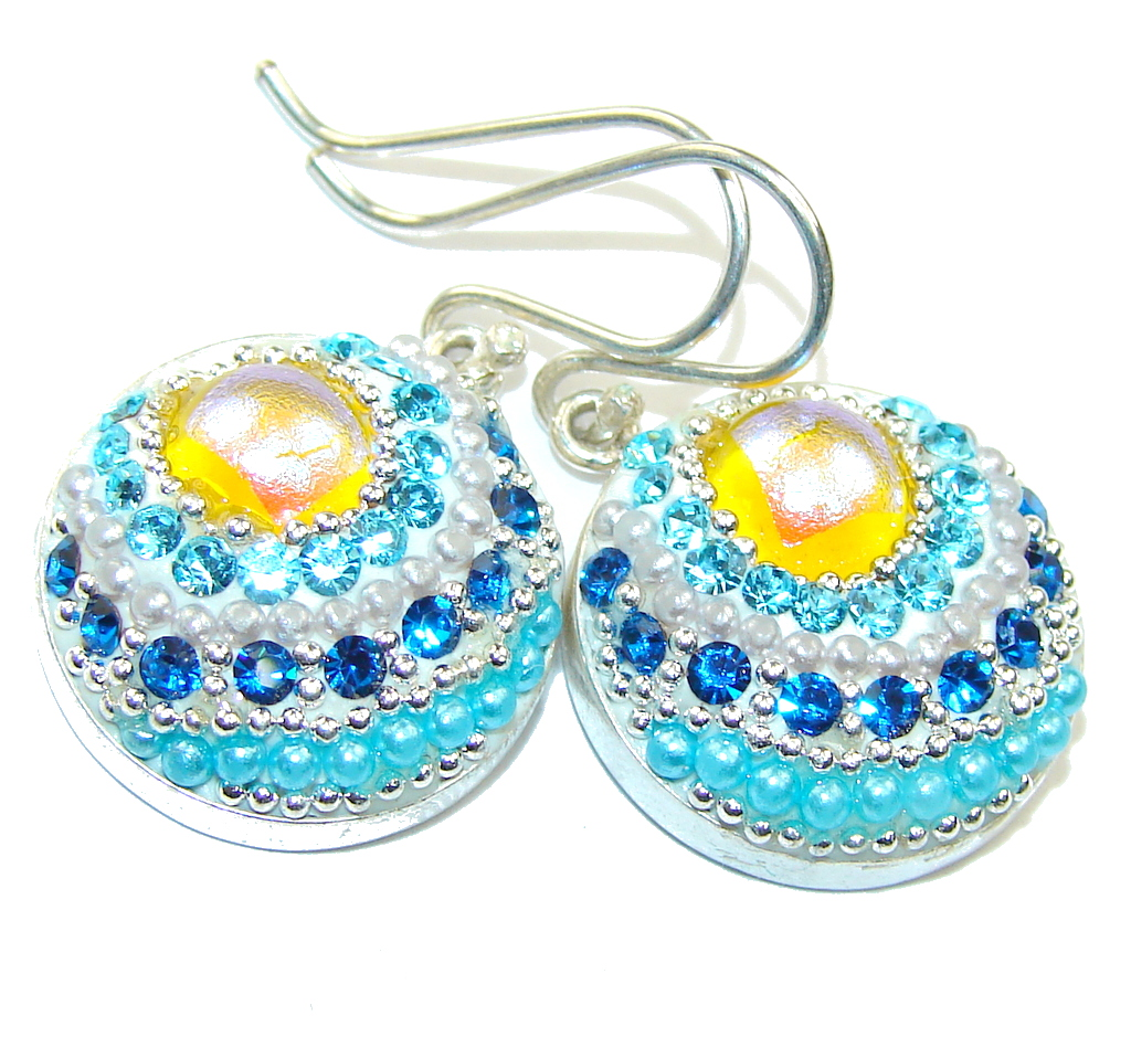 Mexican Art! Multicolor Glass Sterling Silver earrings