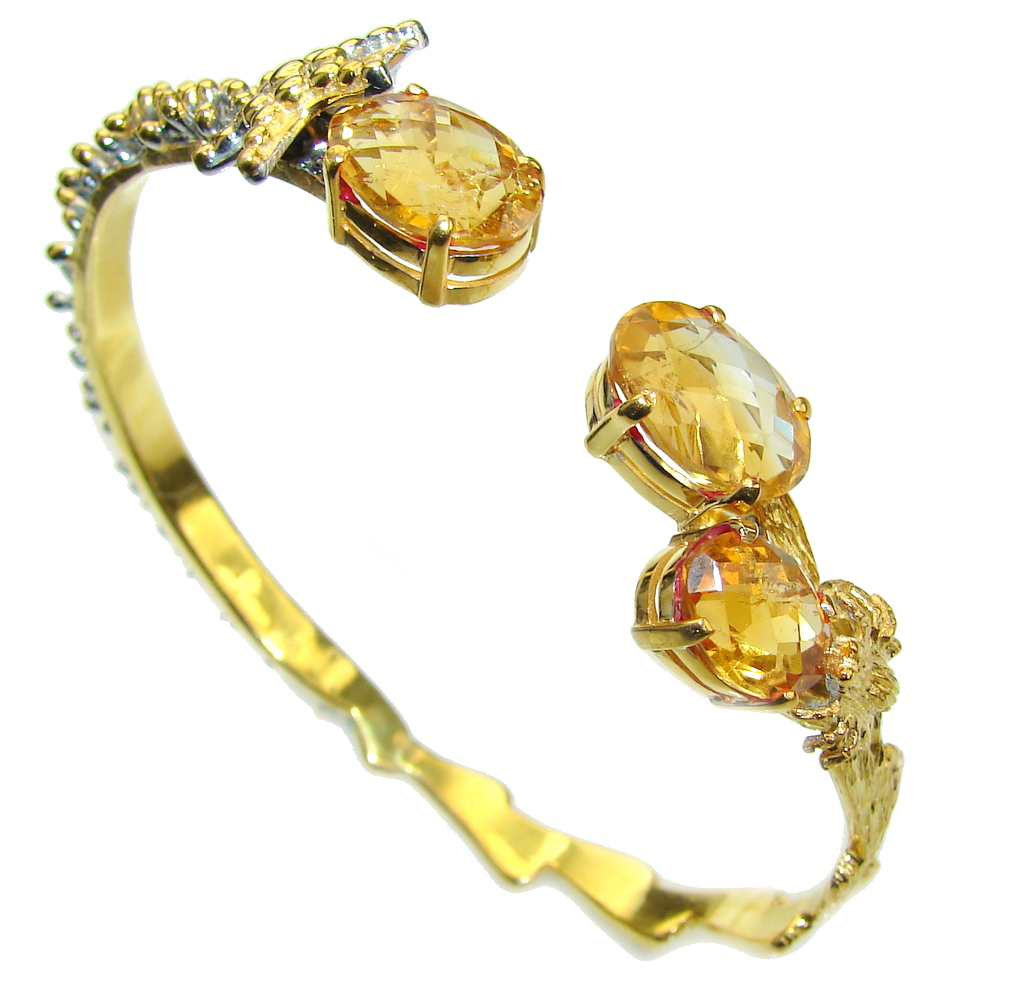 Golden Dazzle AAA Yellow Citrine, Gold PLated Sterling Silver Bracelet / Cuff