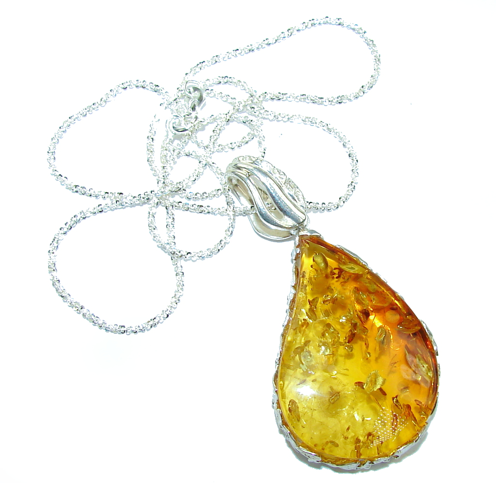 Perfect Gift Baltic Polish Amber Sterling Silver necklace
