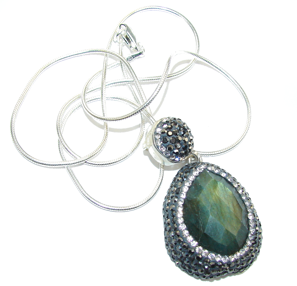 Delicate Beauty AAA labradorite & White Topaz Sterling Silver necklace
