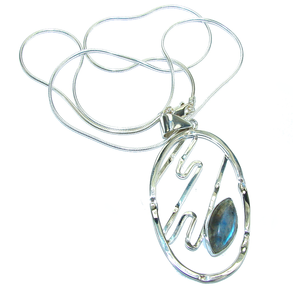 Just Perfect AAA labradorite Sterling Silver necklace