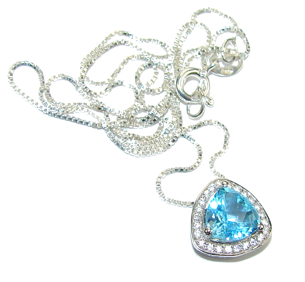 Natural AAA Blue Topaz & White Topaz Sterling Silver necklace