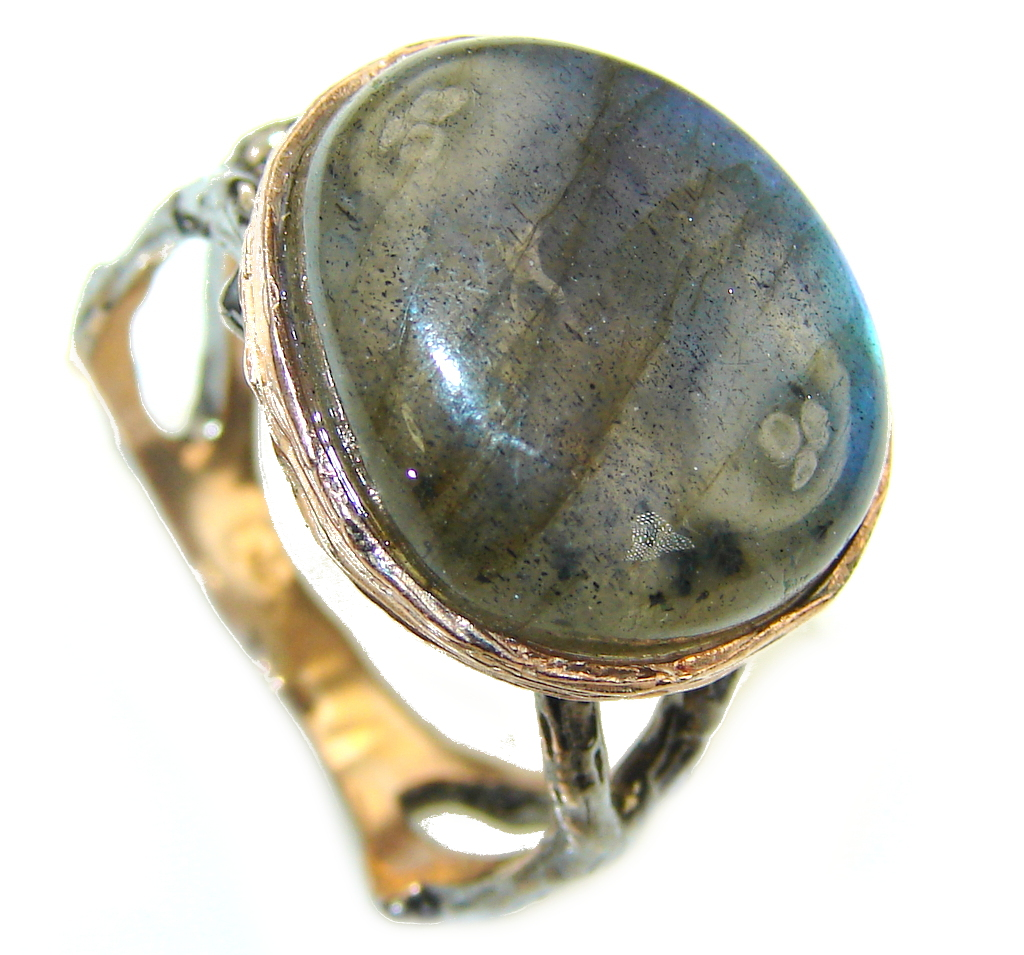 Reflections AAA Labradorite, Rhodiium Plated, Rose Gold Plated Sterling Silver Ring s. 8 1/4