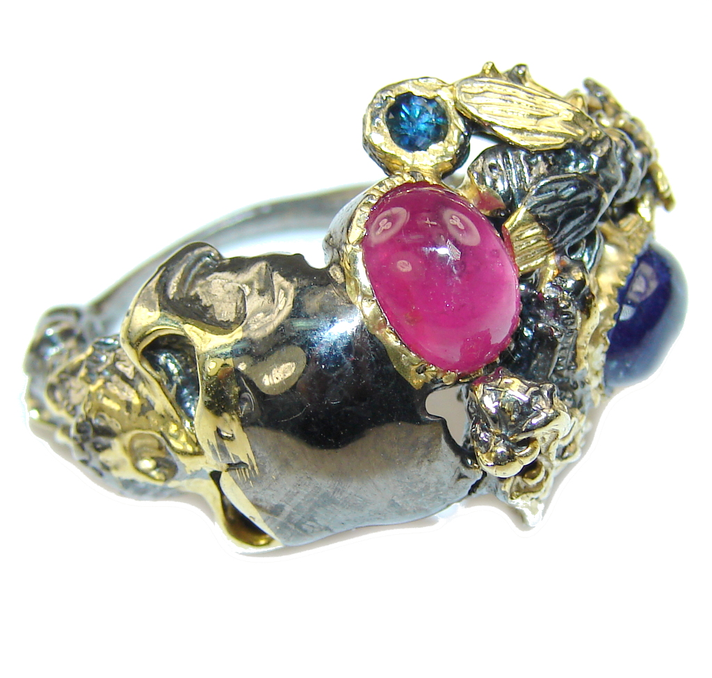 Immortal Pink Ruby, Gold Plated, Rhodium Plated Sterling Silver Ring s. 6 1/2