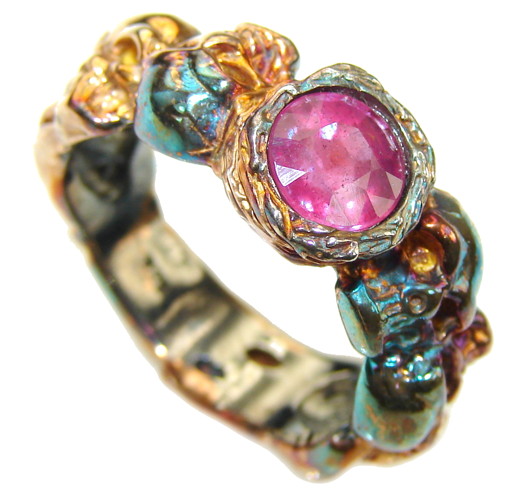 Deadly Smile Pink Ruby, Rose Gold Plated, Rhodium Plated Sterling Silver Ring s. 8