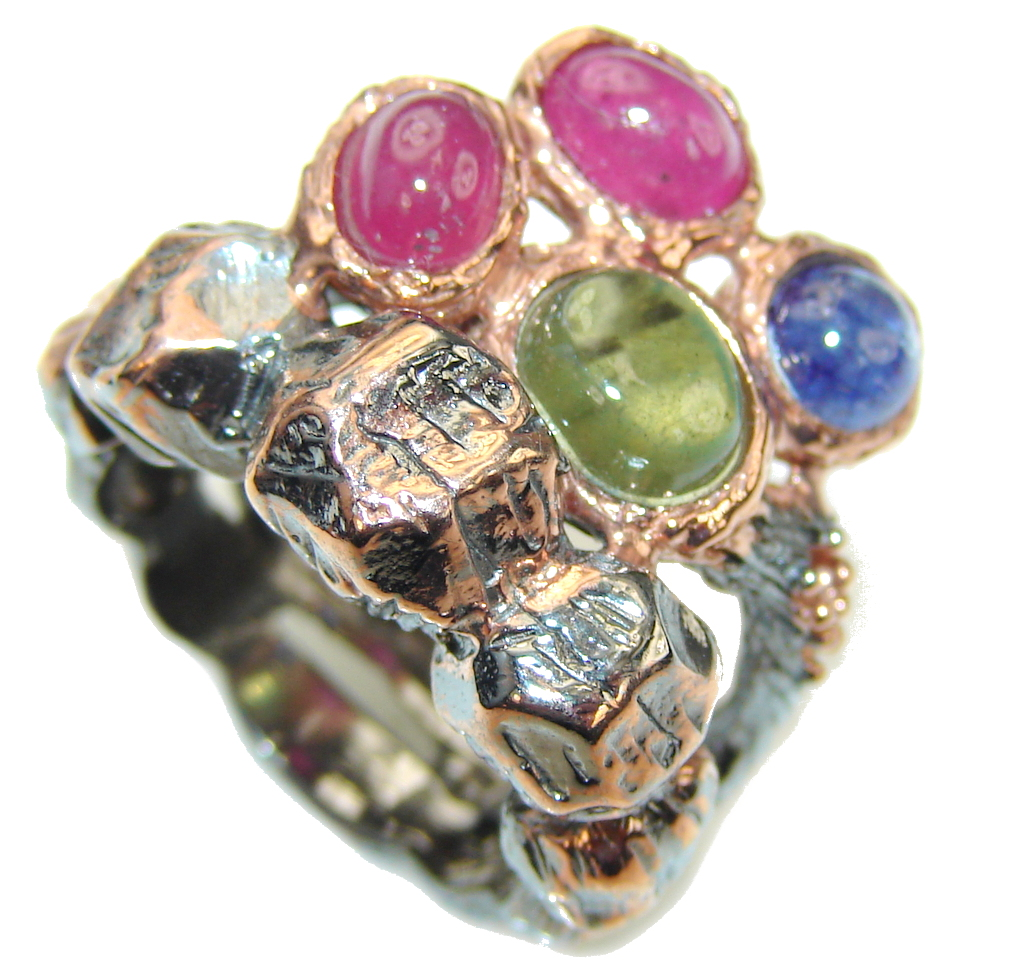 Beautiful Pink Ruby, Rose Gold Plated, Rhodium Plated Sterling Silver Ring s. 6 1/4