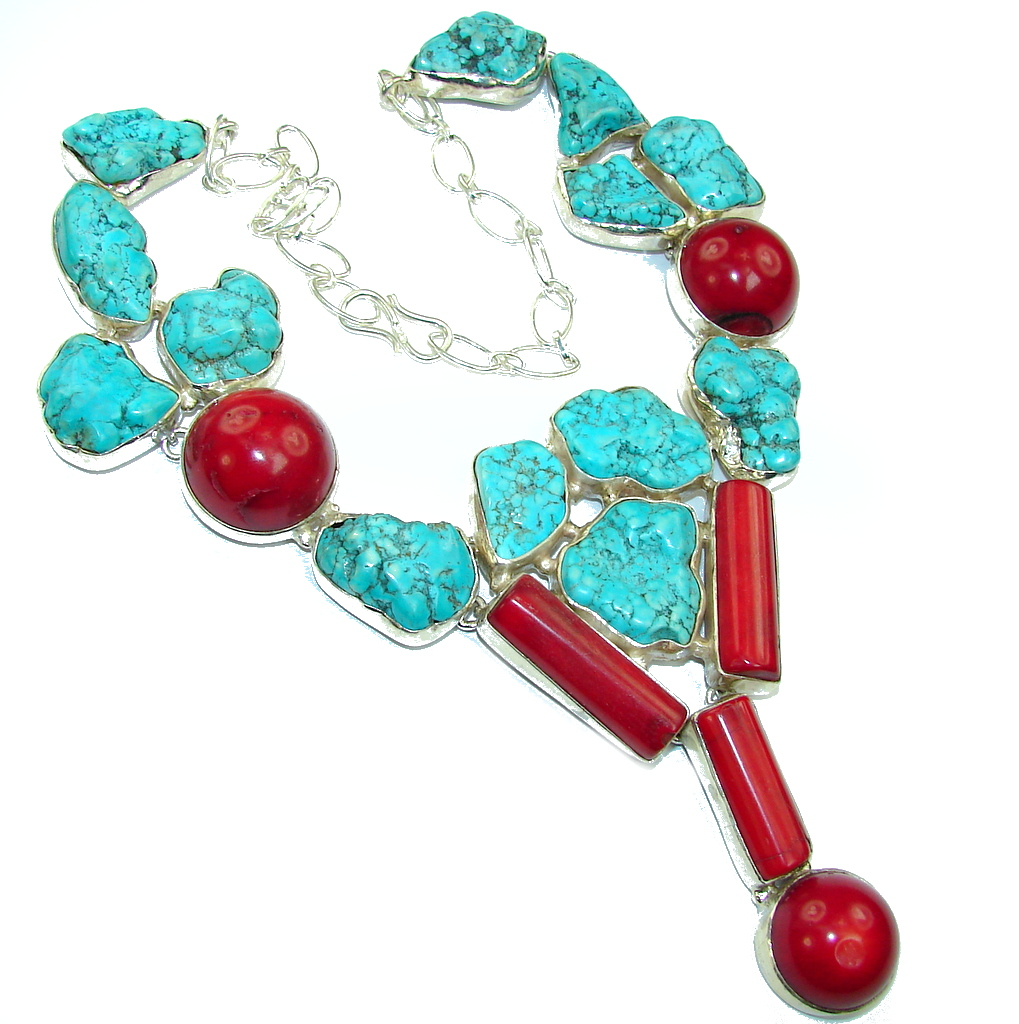 So Oversized! Southwest Design Blue Turquoise & Fossilized Coral Sterling Silver Necklace