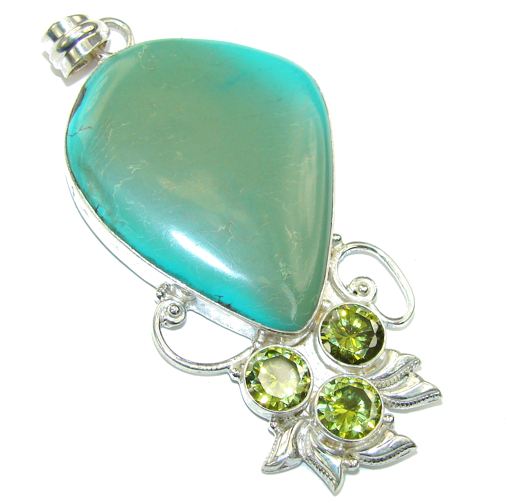Big! Classic Beauty Green Turquoise & Green Quartz Sterling Silver Pendant