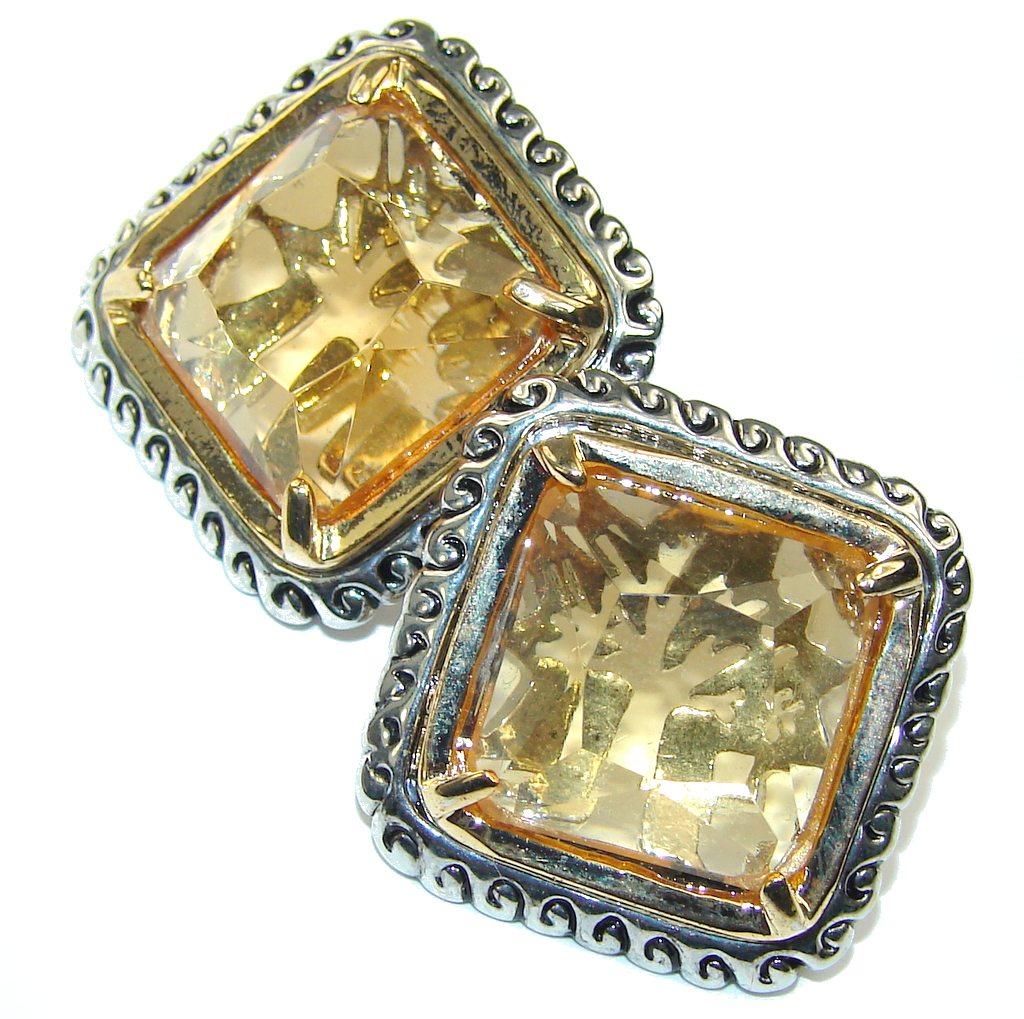 Bali Secret! Golden Topaz Quartz Sterling Silver earrings