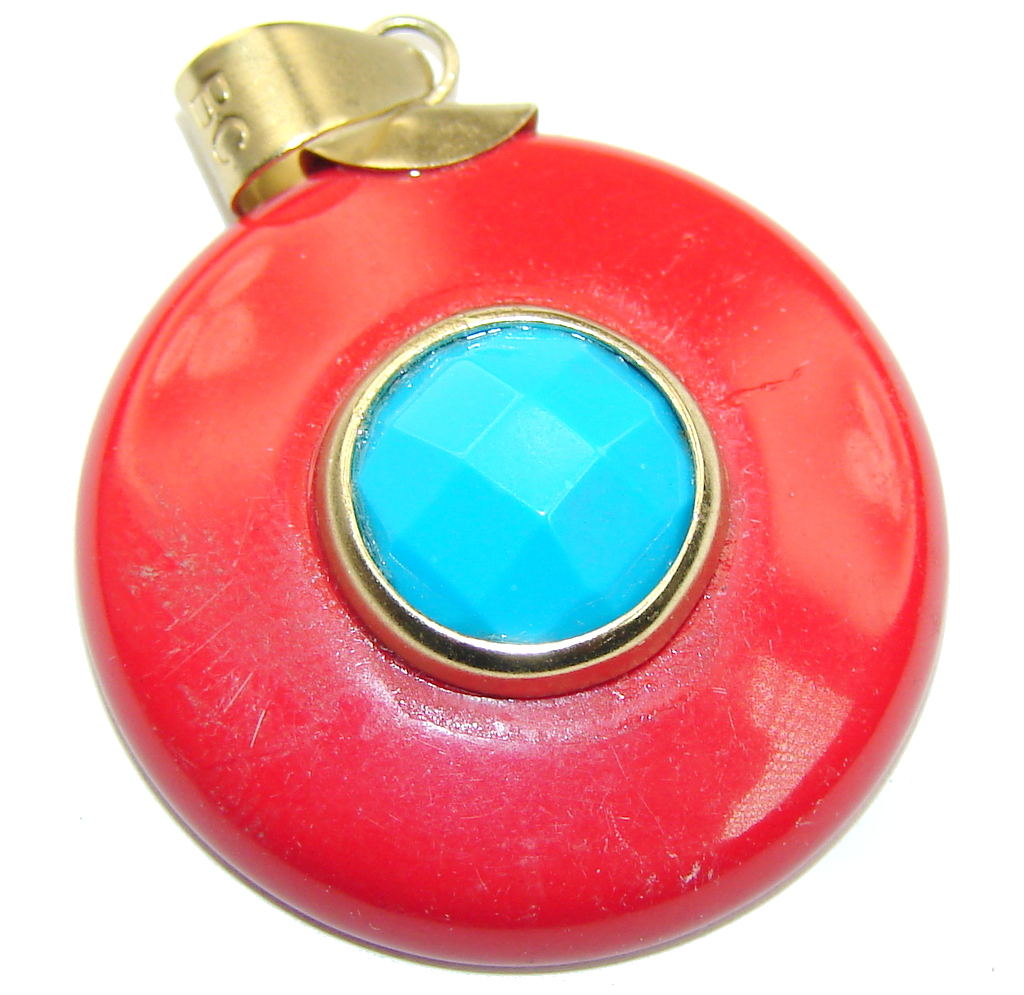 Stylish Blue Turquoise & Red Agate Sterling Silver Pendant 102435