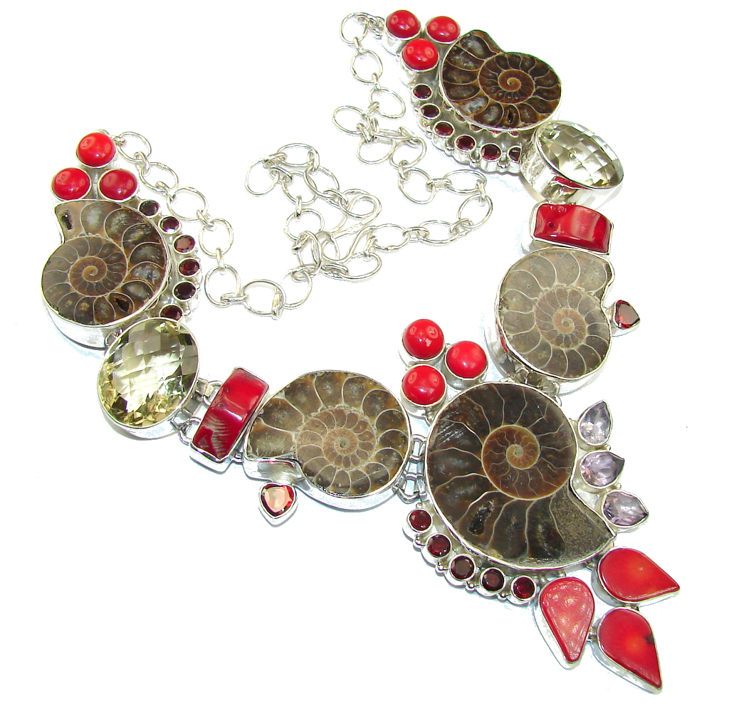 Big! Ocean Night Ammonite Fossil & Fossilized Coral Sterling Silver neck..