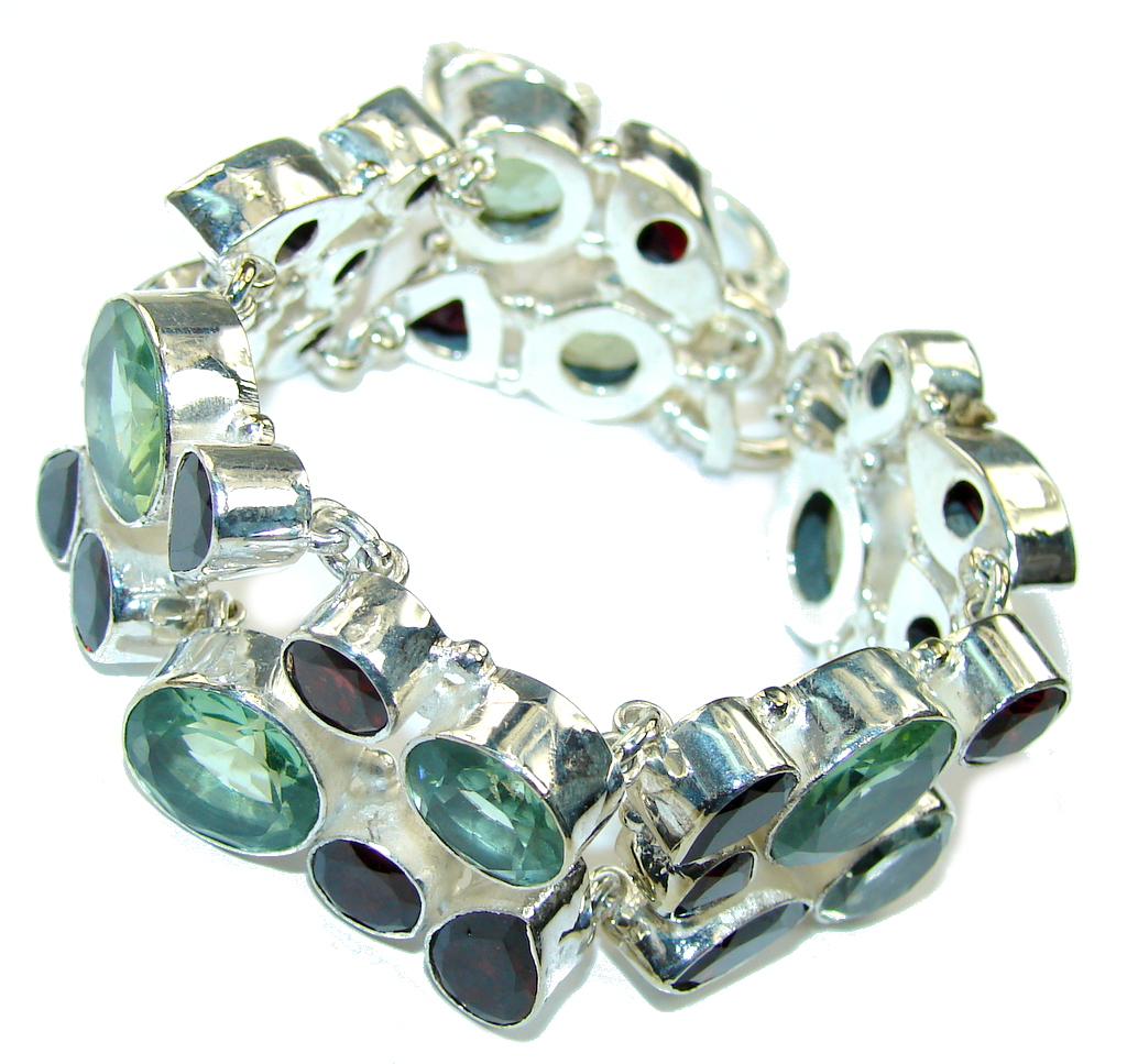 Secret Beauty! Created Green Amethyst & Created Red Garnet Sterling Silver Bracelet