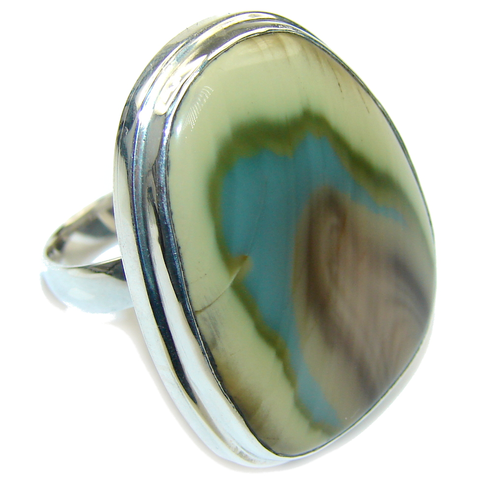 Amazing AAA Imperial Jasper Sterling Silver Ring s. 8- adjustable