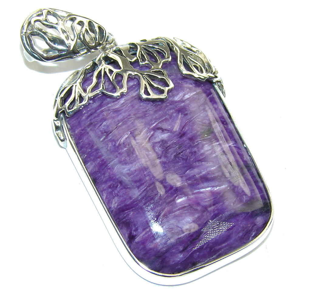 Amazing AAA Purple Siberian Charoite Sterling Silver Pendant