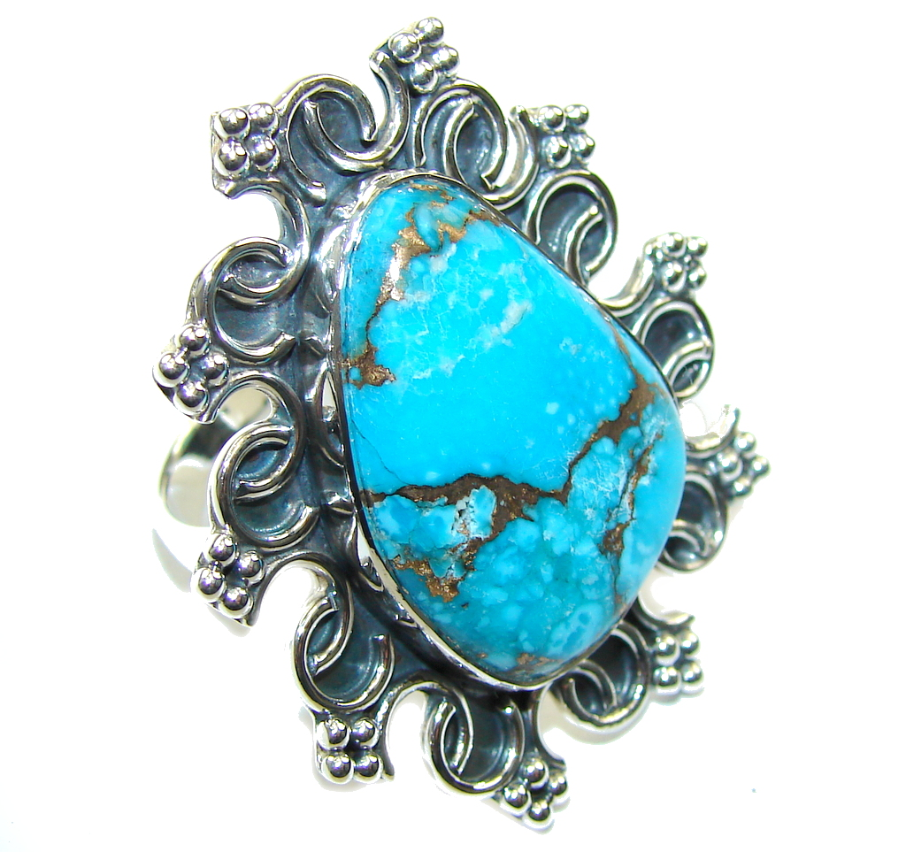 Big! Secret Of The Sea Blue Turquoise Sterling Silver Ring s. 9