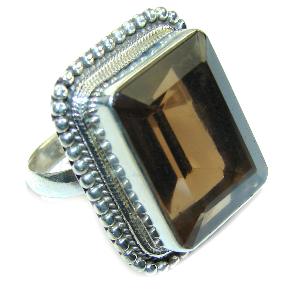 Big! Amazing Smoky Topaz Sterling Silver ring s. 9 1/2