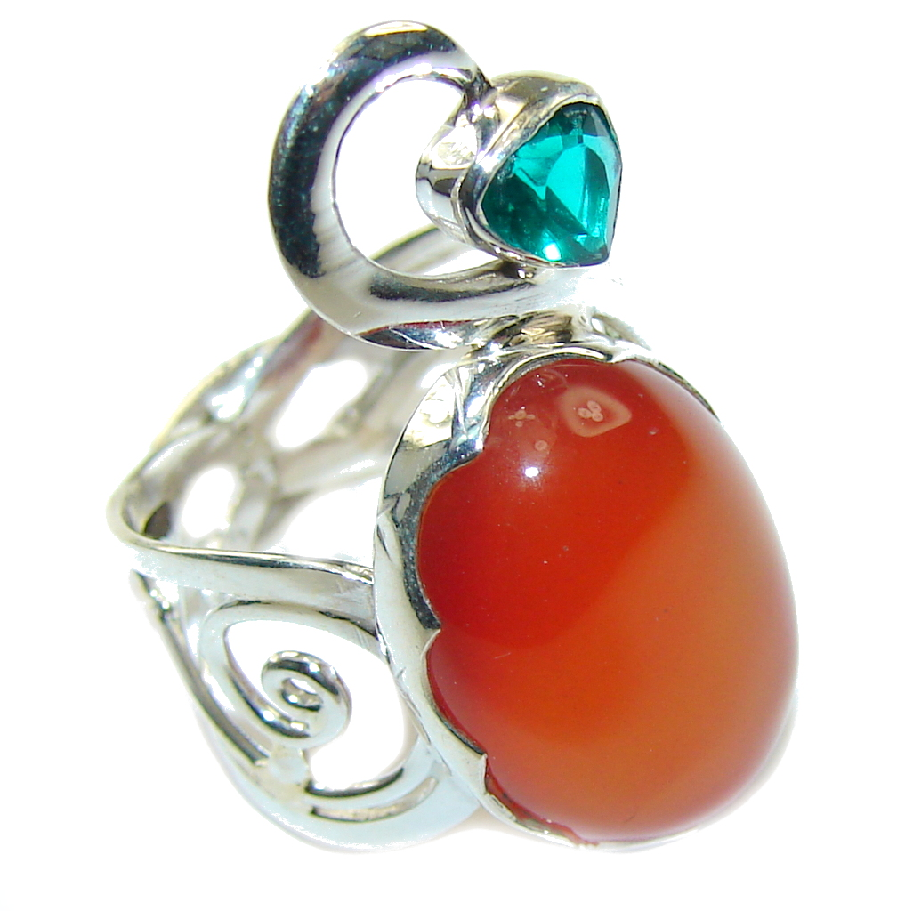 Secret Love Orange Carnelian Sterling Silver ring s. 6
