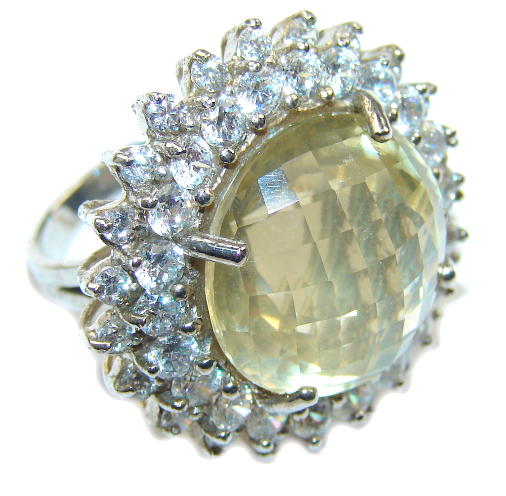 Big! Stunning Yellow Citrine & White Topaz Sterling Silver Ring s. 6