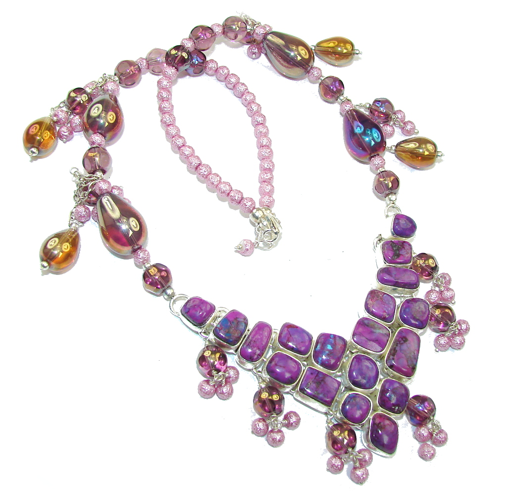 Pale Beauty Purple Turquoise & Art Glass Sterling Silver Necklace