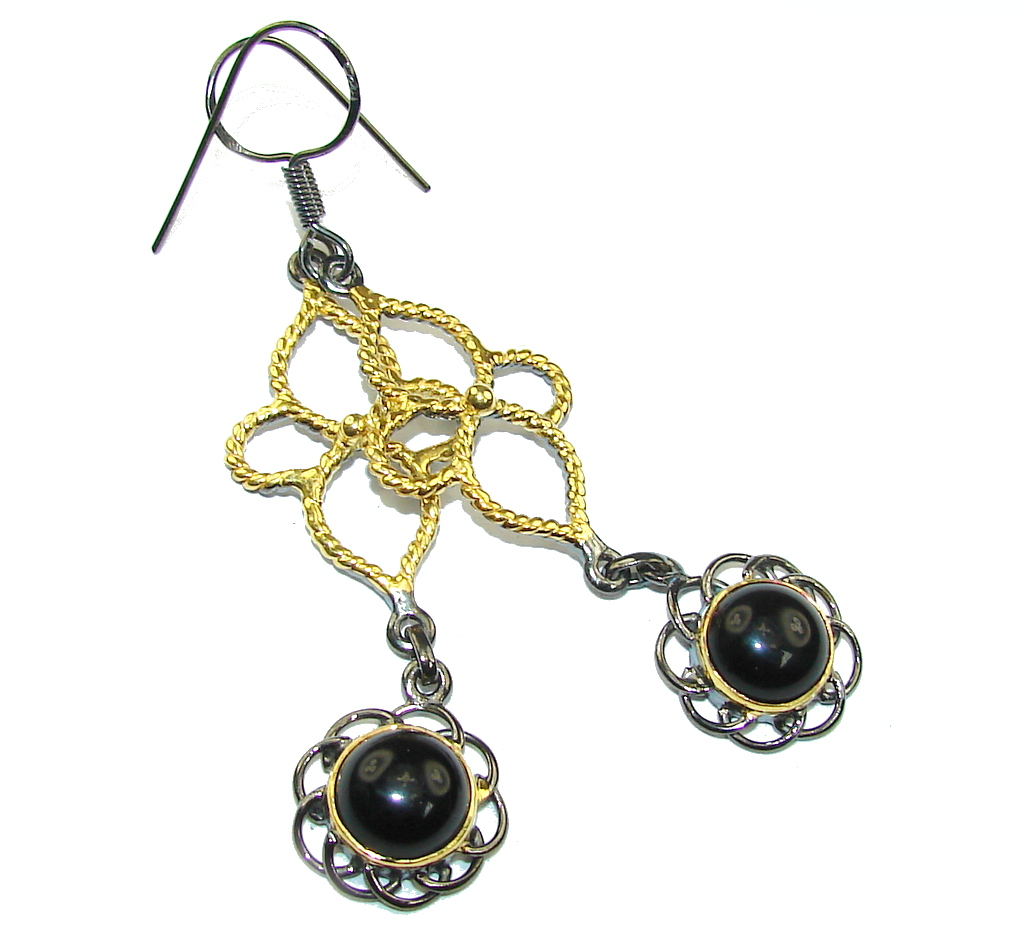 Exclusive Black Spinel, Gold Plated, Rhodium Plated Sterling Silver earrings / Long