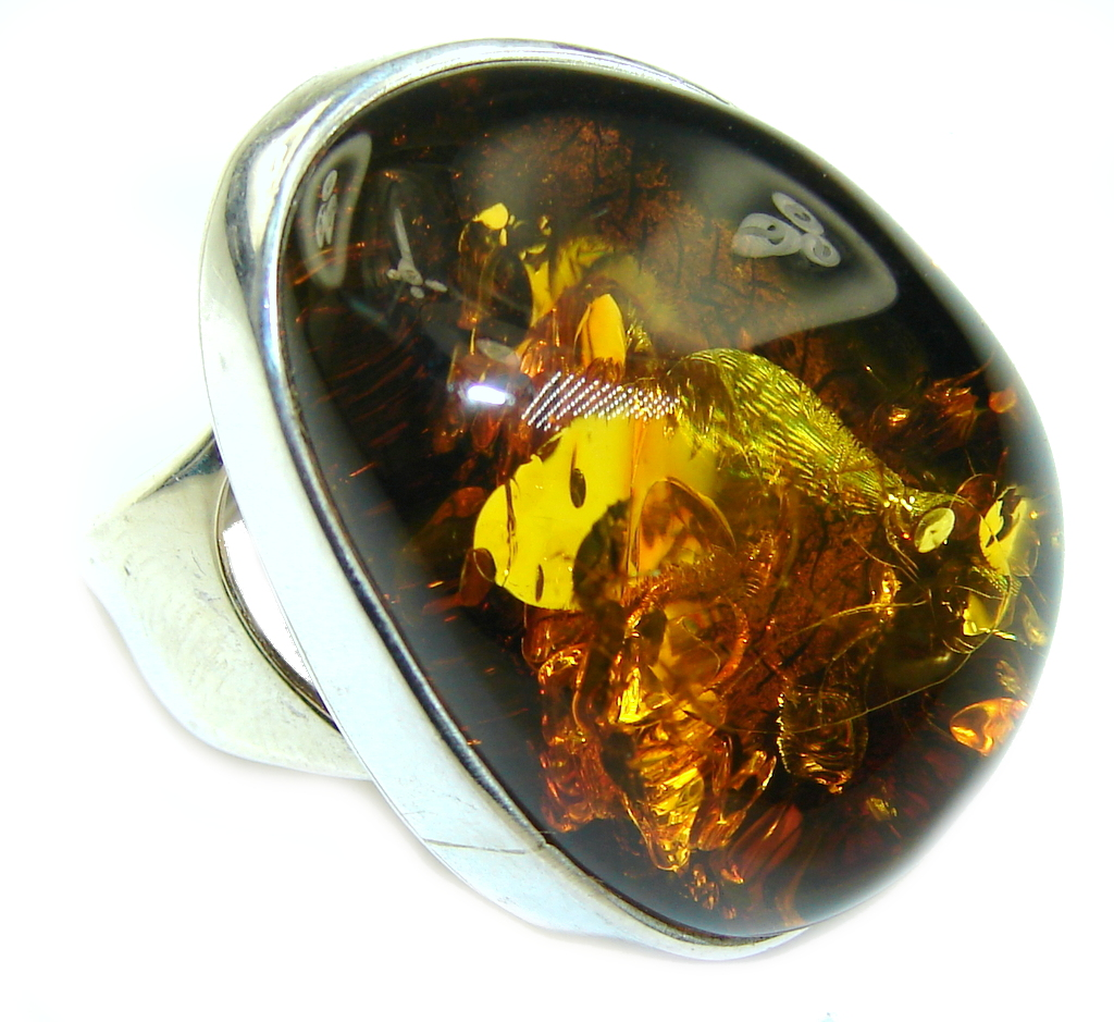 Big! Top Quality AAA Baltic Polish Amber Sterling Silver Ring s. 7- adjustable