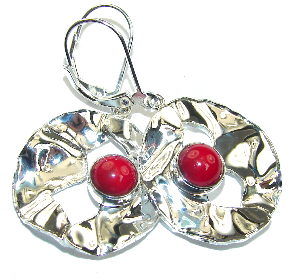 Delicate Red Fossilized Coral Sterling Silver earrings