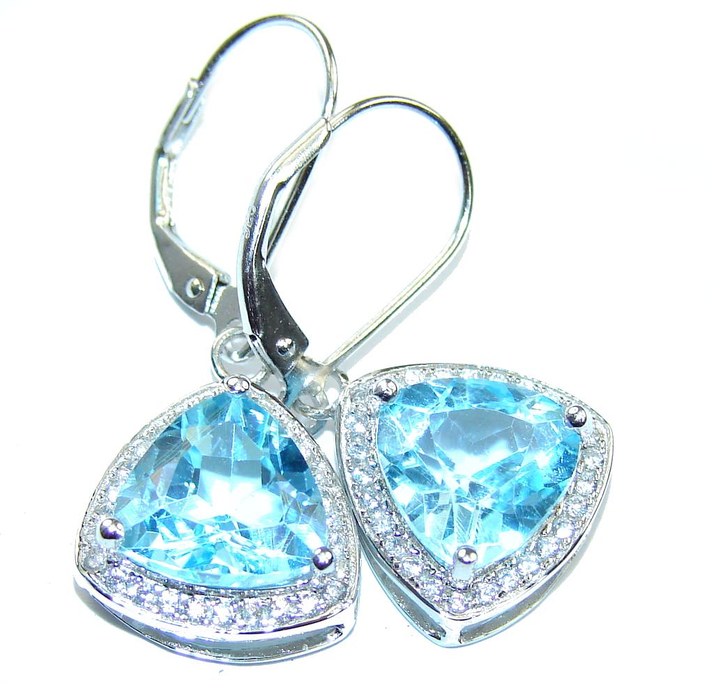 Image of Secret Beauty! Swiss Blue Topaz & White Topaz Sterling Silver earrings