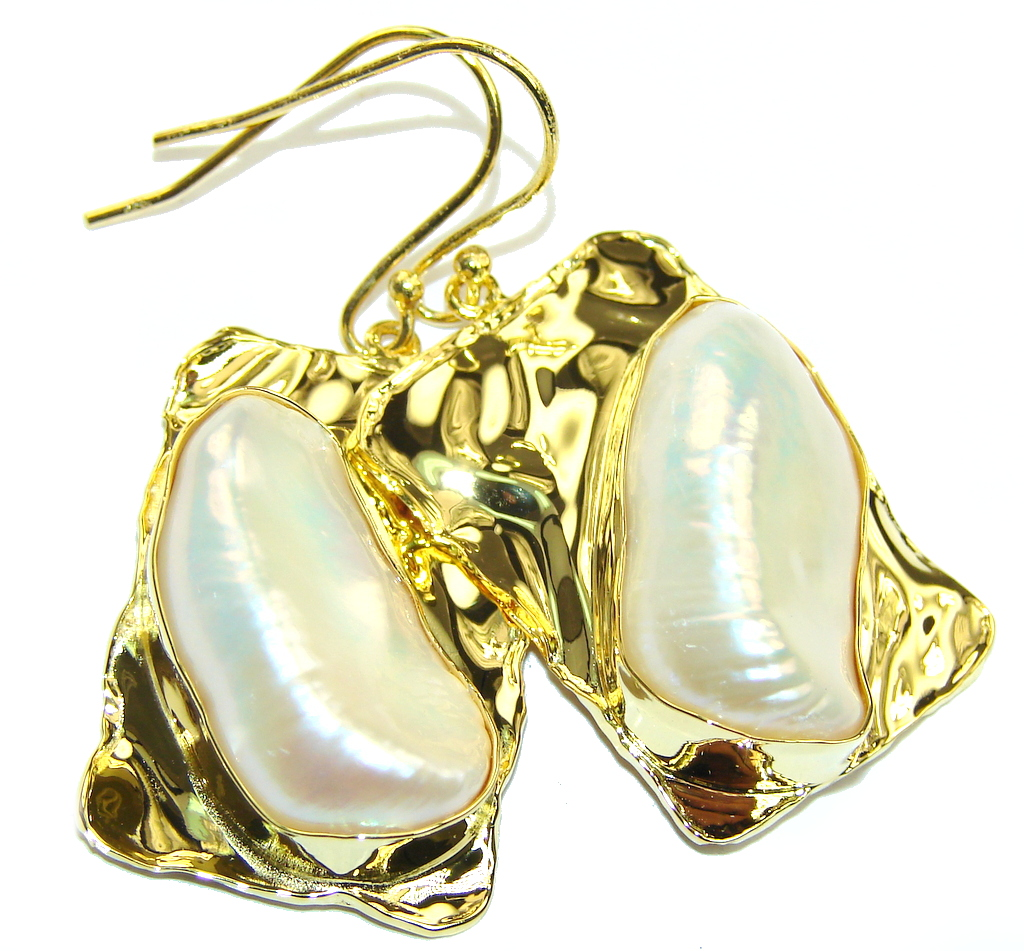 Stunning AAA Mother Of Pearl, Gold Plated Sterling Silver earrings