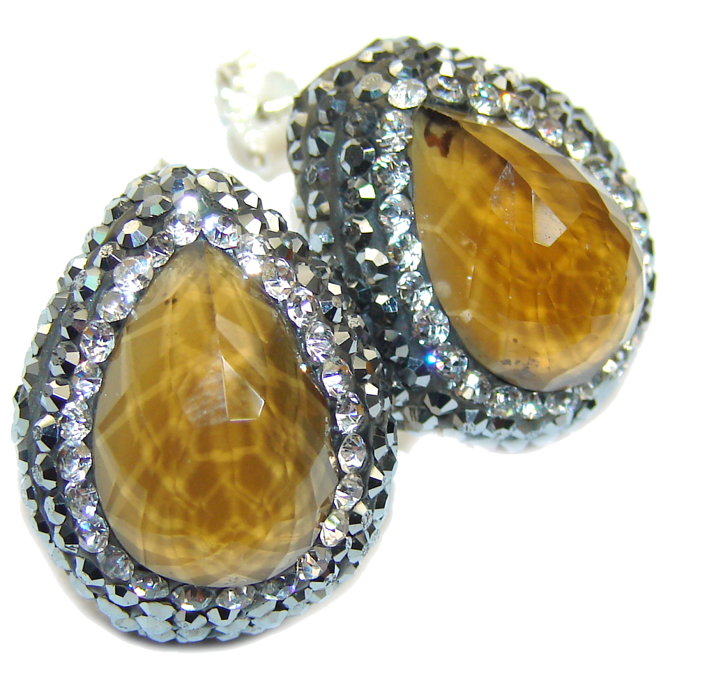 marcassite.com the marcasite jewelry place    Victorian Style! Created Yellow Citrine Sterling Silver earrings