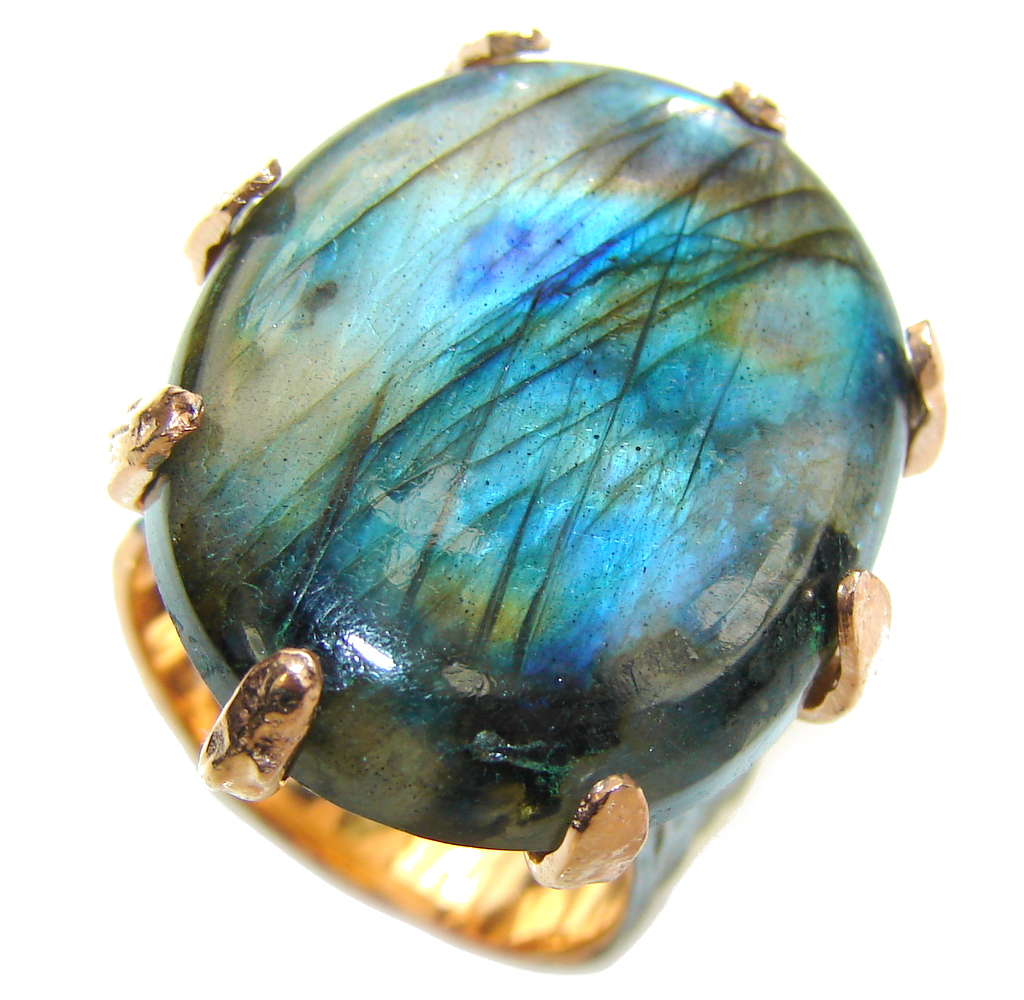 Just Perfect AAA Labradorite, Rhodiium Plated, Gold Plated Sterling Silver Ring s. 8 1/4