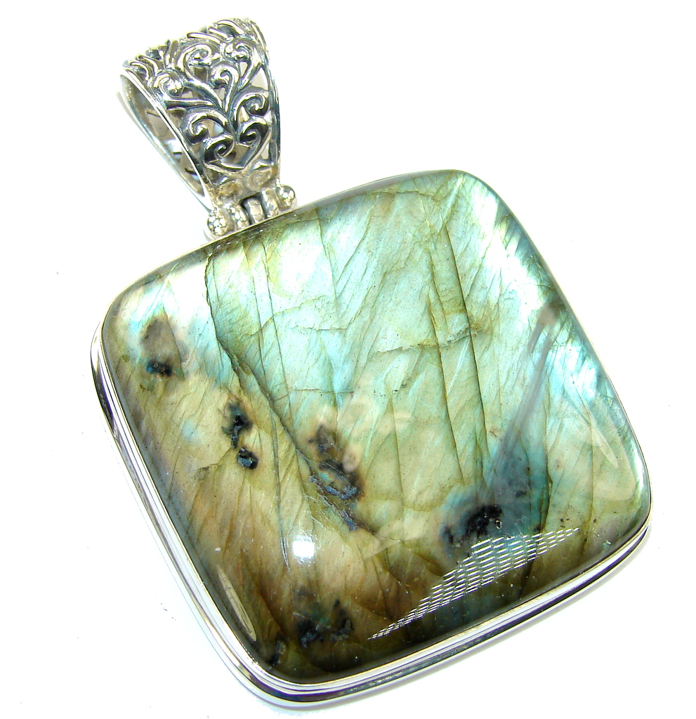 Huge! Volcano of positive Energy AAA Fire Labradorite Sterling Silver Pendant