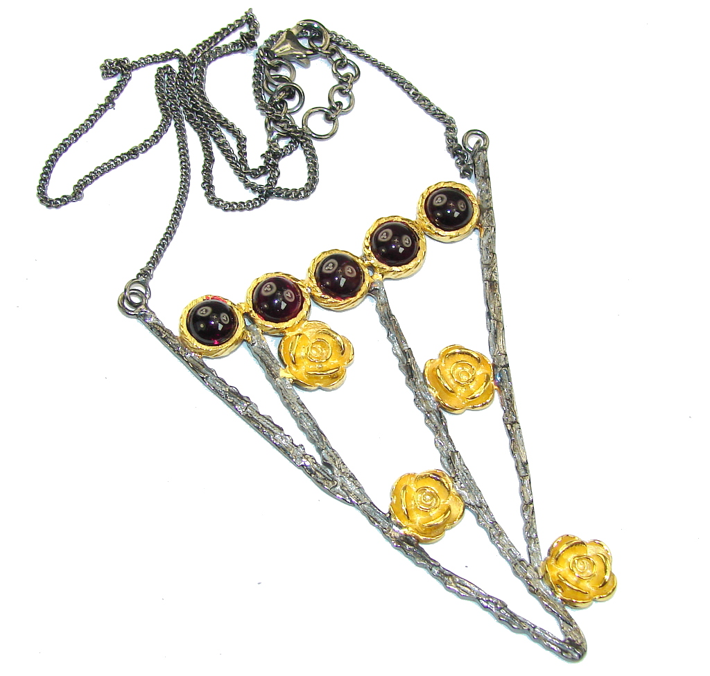 Five Roses Handcrafted Genuine Brown Tourmaline Sterling Silver necklace