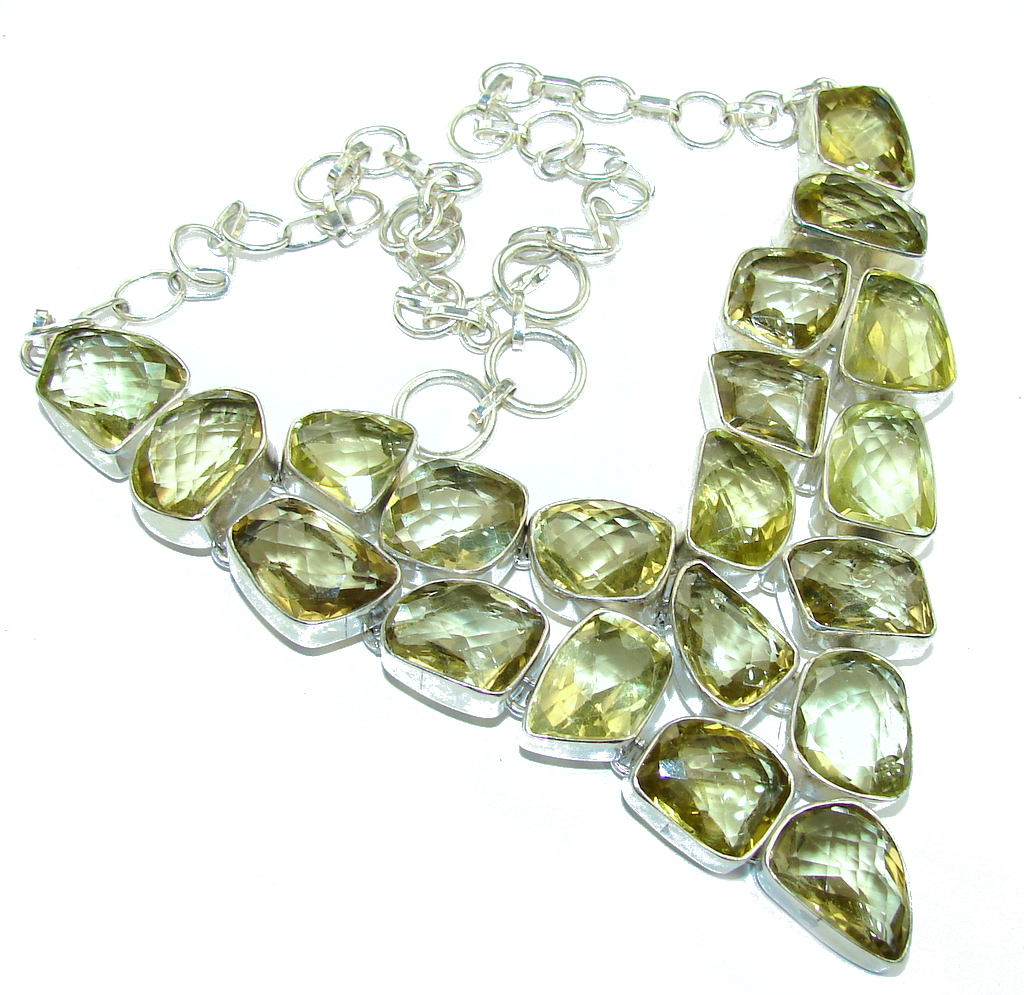 Summer Time Yellow Citrine Sterling Silver necklace
