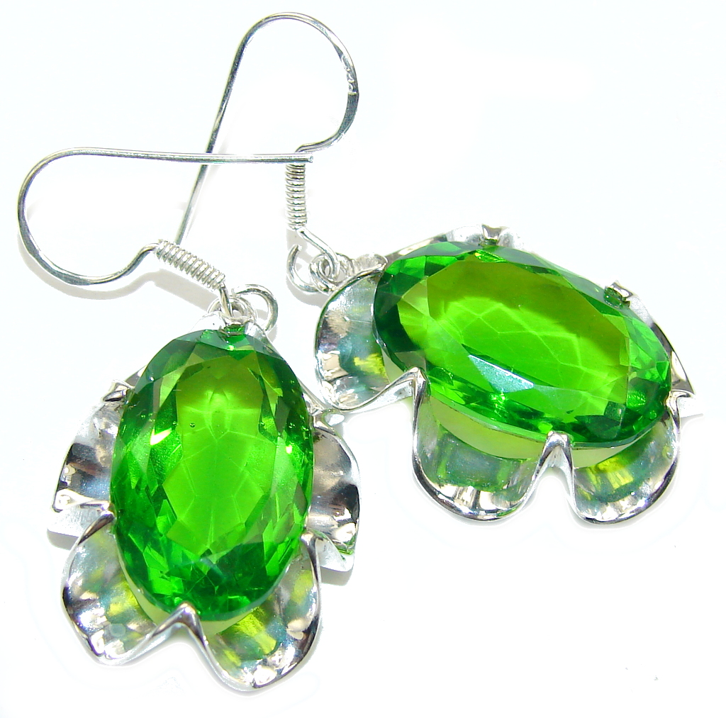 Fresh Created Green Peridot Sterling Silver earrings