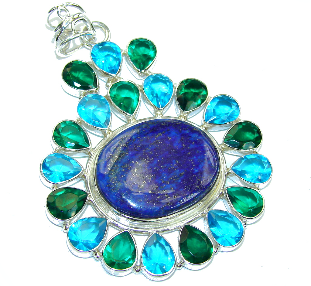 Big! Excellent Blue Lapis Lazuli Sterling Silver Pendant